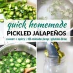 Pinterest image for pickled jalapeños.